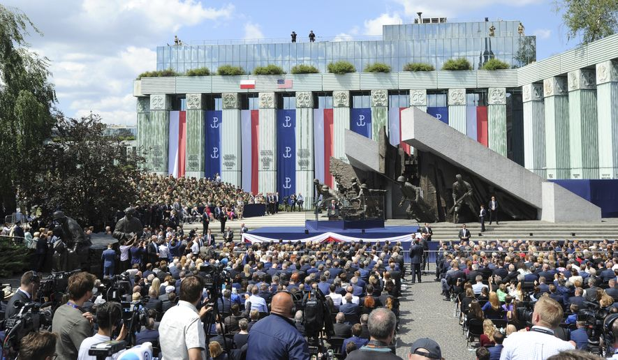 "During a speech in Krasinski Square, in Warsaw, Poland, President Trump on Thursday celebrated America's warm friendship with the ""soul of Europe."" (Associated Press)"