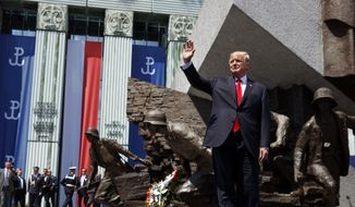President Donald Trump waves as he arrives to deliver a speech at Krasinski Square at the Royal Castle, Thursday, July 6, 2017, in Warsaw. (AP Photo/Evan Vucci)
