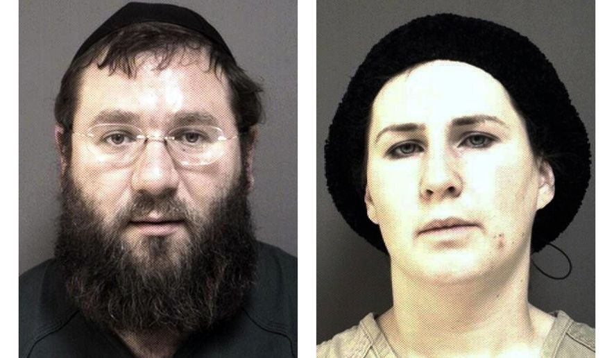 FILE - This combination of photos provided by the Ocean County prosecutor's office shows Zalmen Sorotzkin, left, and his wife, Tzipporah, in Toms River, N.J., after their arrest on Monday, June 26, 2017. They and two other married couples are charged with conspiring to fraudulently obtain public welfare benefits. (Ocean County Prosecutor's Office via AP)