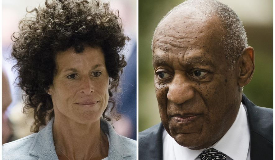 This photo combination of file photos show, Andrea Constand, left, walking to the courtroom during Bill Cosby's sexual assault trial June 6, 2017, at the Montgomery County Courthouse in Norristown, Pa.; and Bill Cosby, right, arriving for his sexual assault trial June 16, 2017, at the Montgomery County Courthouse in Norristown, Pa. Cosby's retrial on charges he drugged and molested Constand in 2004 is set for November 2017, according to an order signed Thursday, July 6, 2017, by Judge Steven O'Neill. (AP Photo/Matt Rourke, File)