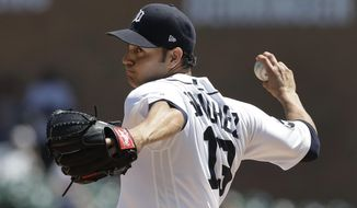 Detroit Tigers relief pitcher Anibal Sanchez throws during the fourth inning of a baseball game against the San Francisco Giants, Thursday, July 6, 2017, in Detroit. (AP Photo/Carlos Osorio)