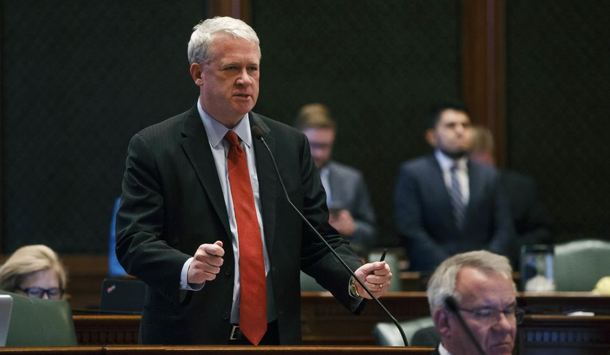 Illinois House Minority Leader Jim Durkin, R-Western Springs, speaks during a debate to override Gov. Rauner's veto of the budget bills on the floor of the Illinois House during an overtime session at the Illinois State Capitol, Thursday, July 6, 2017, in Springfield, Ill. (Justin L. Fowler /The State Journal-Register via AP)