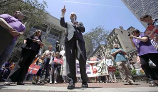 """U.S. Sen. Ed Markey, D-Mass., speaks during a """"Here to Stay"""" rally at the Irish Famine Memorial in Boston, Thursday, July 6, 2017. Immigration activists and labor groups gathered in Boston in opposition to President Donald Trump's crackdown on illegal immigration. (AP Photo/Charles Krupa)"""