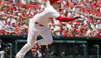 St. Louis Cardinals' Luke Voit watches his two-run double during the third inning of a baseball game against the Miami Marlins Thursday, July 6, 2017, in St. Louis. (AP Photo/Jeff Roberson)