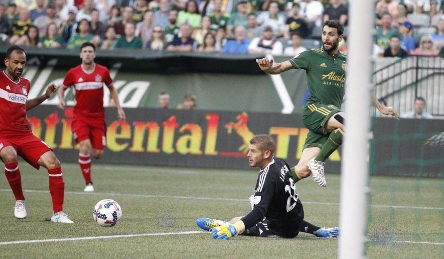 Portland Timbers' Diego Valeri, back right, lays a ball off as Chicago Fire goalie Matt Lampson defends during an MLS soccer match Wednesday, July 5, 2017, in Portland, Ore. (Sean Meagher/The Oregonian via AP)