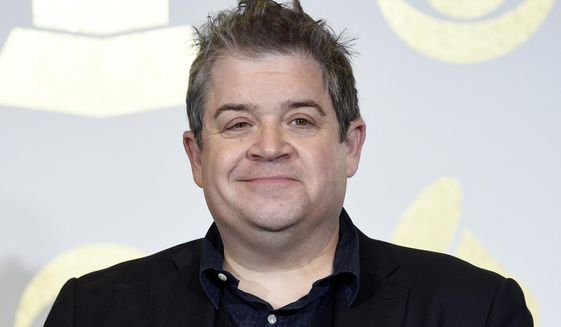"""In this Feb. 12, 2017 file photo, Patton Oswalt poses in the press room with the award for best comedy album for """"Talking for Clapping"""" at the 59th annual Grammy Awards in Los Angeles. (Photo by Chris Pizzello/Invision/AP, File)  **FILE**"""