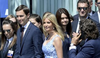 Ivanka Trump arrives with her husband Jared Kushner, senior advisor of President Donald Trump, for U.S. President Donald Trump's speech in Krasinski Square, in Warsaw, Poland, Thursday, July 6, 2017. (AP Photo/Alik Keplicz)