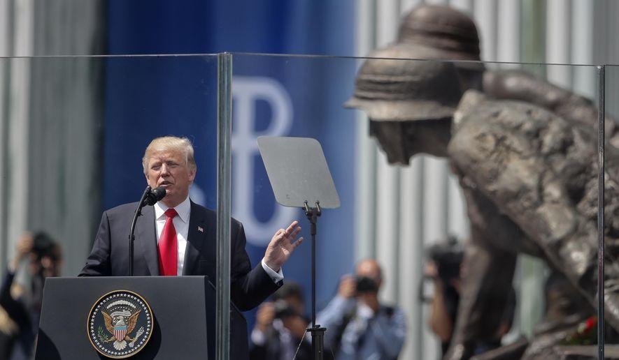 U.S. President Donald Trump delivers a speech in Krasinski Square, in Warsaw, Poland, Thursday, July 6, 2017.(AP Photo/Petr David Josek)