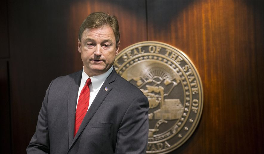 In this June 23, 2017, file photo, Sen. Dean Heller, R-Nev., is shown during a press conference at the Grant Sawyer State Office Building in Las Vegas. Rep. Jacky Rosen, D-Nev., officially announced her candidacy Thursday, July 6, 2017, for the Senate seat currently held by Heller. (Erik Verduzco/Las Vegas Review-Journal via AP, File)
