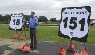 """FILE - In this June 5, 2017 photo, Wisconsin Gov. Scott Walker speaks during a news conference in Madison, Wis. Gov. Walker put forward what he's calling a """"reasonable proposal"""" that would tap federal money and lower borrowing to pay for roads, but it was unclear Thursday, July 6, 2017, whether it would be enough to unite Republicans who control the Legislature and are searching for a budget deal. (AP Photo/Scott Bauer, File)"""