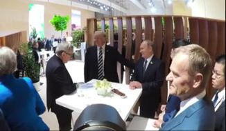 In this image taken from video U.S. President Donald Trump, center left, meets with the Russian President Vladimir Putin, center right,  during the G-20 summit in Hamburg, Germany Friday July 7, 2017. (Steffen Kugler/German Government via AP)