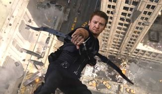 Actor Jeremy Renner, who plays the archer Hawkeye in Marvel Studios' popular superhero films, recently suffered breaks to both arms while filming a comedy. (Image: Marvel Studios)