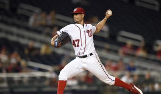 Washington Nationals starting pitcher Gio Gonzalez throws during the third inning of the team's baseball game against the Atlanta Braves, Thursday, July 6, 2017, in Washington. (AP Photo/Nick Wass)
