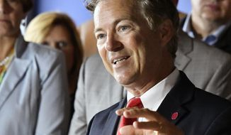 Sen. Rand Paul, R-Ky., speaks about health insurance during a news conference at the River House Restaurant, Thursday, July 6, 2017, in Louisville, Ky. Paul has emerged as one of the biggest obstacles to passing the Republican answer to the Affordable Care Act, adding another wrinkle in his complex relationship with Senate Majority Leader Mitch McConnell, R-Ky. (AP Photo/Timothy D. Easley)