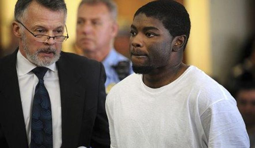FILE- In this May 20, 2013, file photo, Jermaine Richards, right, stands with his lawyer, John R. Gulash, as he is arraigned on murder and kidnapping charges in the death of Eastern Connecticut State University (ECSU) student Alyssiah Marie Wiley at Superior Court in Bridgeport, Conn. Jury selection is scheduled to begin Friday, July 7, 2017, for a third trial of Richards. The first two trials of Richards ended in mistrials after the juries deadlocked. (Brian A. Pounds/Hearst Connecticut Media via AP, Pool, File)