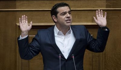 FILE - In this Thursday, May 18, 2017 file photo Greek Prime Minister Alexis Tsipras speaks during a Parliament session in Athens. Prime Minister Alexis Tsipras' office says on Friday, July 7, 2017, he has been admitted to an Athens hospital and undergone surgery to remove a hernia. (AP Photo/Petros Giannakouris, File)