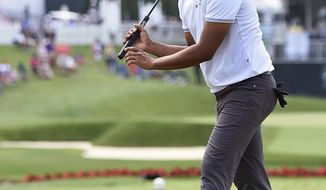 Sabastian Munoz watches his missed birdie putt on the 17th hole during the second round of The Greenbrier Classic golf tournament Friday, July 7, 2017, in White Sulphur Springs, W.Va. (Rick Barbero/The Register-Herald via AP)