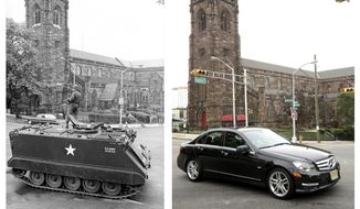 In a July 16, 1967 file photo, left, a National Guardsman stands atop an armored personnel carrier at a roadblock in Newark, N.J., in front of the St. James A.M.E. Church during the Newark riots. In a June 16, 2017 photo, right, the same spot is seen 50 years later. (AP Photo/John Duricka, left; Julio Cortez, right)