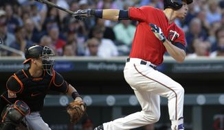Minnesota Twins' Max Kepler singles during the fourth inning of the team's baseball game against the Baltimore Orioles, Friday, July 7, 2017, in Minneapolis. (AP Photo/Paul Battaglia)