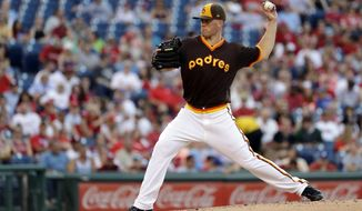 San Diego Padres' Clayton Richard pitches during the third inning of a baseball game against the Philadelphia Phillies, Friday, July 7, 2017, in Philadelphia. (AP Photo/Matt Slocum)