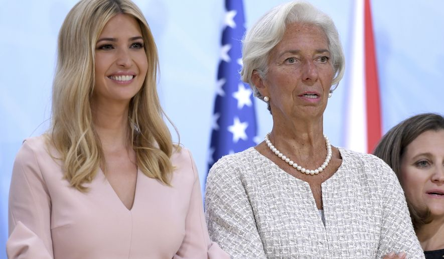 U.S. president Donald Trump's daughter Ivanka, left, and the head of the Managing Director of the International Monetary Fund (IMF)  Christine Lagarde  attend the Women's Entrepreneur Finance Initiative launch event held in conjunction with the G-20 summit in Hamburg, Germany,  Saturday, July 8, 2017.  (Patrik Stollarz/Pool Photo via AP)