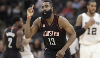 CORRECTS TERMS OF CONTRACT - FILE - In this May 9, 2017, file photo, Houston Rockets guard James Harden (13) gestures during Game 5 in the team's second-round NBA basketball playoff series against the San Antonio Spurs in San Antonio. The Rockets signed Harden to a four-year contract extension for about $160 million Saturday, July 8, giving him a total six-year deal with $228 million guaranteed. With Harden under contract on his existing deal for another two seasons, the extension will not affect Houston's aggressive pursuit of free agents this summer as the Rockets try to make a run at the Golden State Warriors. (AP Photo/Eric Gay, File)