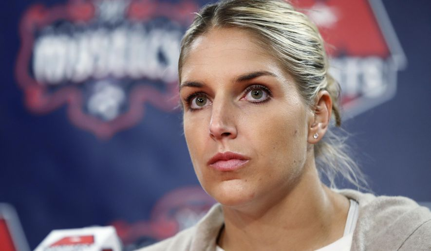 """This Feb. 10, 2017 file photo shows Elena Delle Donne speaking during a news conference in Washington. Delle Donne is no stranger to the joys and hatred of social media. The Washington Mystics star saw both sides when she sent a tweet about Lakers rookie Lonzo Ball and his famous $495 shoe. Delle Donne thought she was just having fun, but plenty of folks didn't take it that way. They took her remark to mean she wanted Ball to be injured. Actually, she was just joking about his shoe. She says she thinks of herself as a """"funny person,"""" and there's no way she would want someone to be injured. (AP Photo/Manuel Balce Ceneta)"""