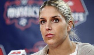 "This Feb. 10, 2017 file photo shows Elena Delle Donne speaking during a news conference in Washington. Delle Donne is no stranger to the joys and hatred of social media. The Washington Mystics star saw both sides when she sent a tweet about Lakers rookie Lonzo Ball and his famous $495 shoe. Delle Donne thought she was just having fun, but plenty of folks didn't take it that way. They took her remark to mean she wanted Ball to be injured. Actually, she was just joking about his shoe. She says she thinks of herself as a ""funny person,"" and there's no way she would want someone to be injured. (AP Photo/Manuel Balce Ceneta)"