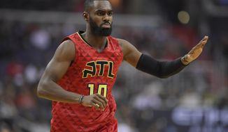 FILE - This April 26, 2017 file photo shows Atlanta Hawks guard Tim Hardaway Jr. (10) during the first half in Game 5 of a first-round NBA basketball playoff series against the Washington Wizards in Washington. The New York Knicks announced Saturday, July 8, 2017 they have signed free-agent guard Tim Hardaway Jr. to a four-year, $71 million contract. (AP Photo/Nick Wass)