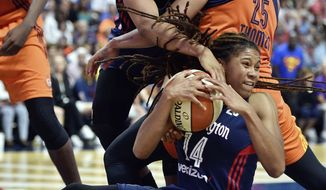 Connecticut Sun's Alyssa Thomas (25) battle Washington Mystics' Tierra Ruffin-Pratt (14) and Krystal Thomas, back, for a rebound in the second half of a WNBA basketball game Saturday, July 8, 2017, in Uncasville, Conn. (Sean D. Elliot/The Day via AP)