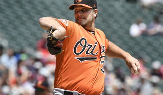 Baltimore Orioles pitcher Wade Miley throws against the Minnesota Twins in the first inning, Saturday, July 8, 2017, in Minneapolis. (AP Photo/Tom Olmscheid)