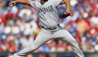 San Diego Padres starting pitcher Jhoulys Chacin (46) throws in the first inning of a baseball game against the Philadelphia Phillies, Saturday, July 8, 2017, in Philadelphia. (AP Photo/Laurence Kesterson)