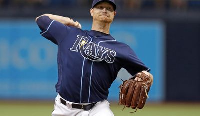 Tampa Bay Rays starting pitcher Alex Cobb throws during the first inning of a baseball game against the Boston Red Sox, Saturday, July 8, 2017, in St. Petersburg, Fla. (AP Photo/Mike Carlson)