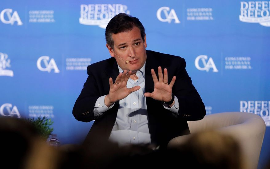 "Sen. Ted Cruz decried Democrats' criticism of the GOP's plans to overhaul health care reform, saying the Democrats relied on a ""litany of lies"" to pass Obamacare in 2010. (Associated Press)"