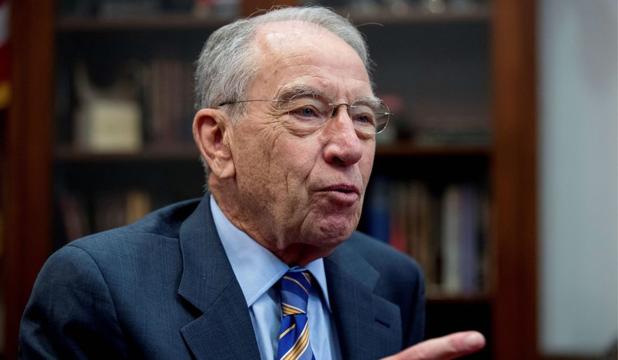 Senate Judiciary Committee Chairman Chuck Grassley, Iowa Republican, has indicated that he might not adhere to the blue slip tradition, giving senators a sort of veto over judges picked from their home states who don't meet with their approval. (Associated Press)