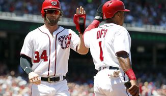 Washington Nationals' Bryce Harper (34) and Wilmer Difo (1) celebrate scoring off a double by Anthony Rendon during the first inning of a baseball game against the Atlanta Braves at Nationals Park, Sunday, July 9, 2017, in Washington. (AP Photo/Alex Brandon)