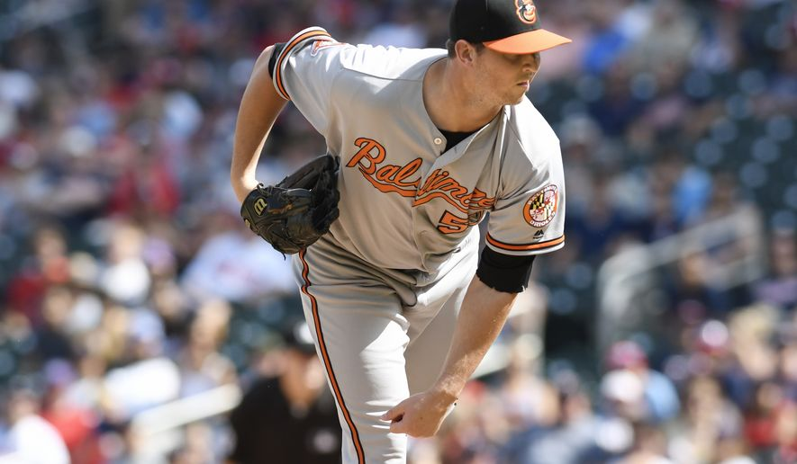 Baltimore Orioles' Zach Britton in a baseball game against the Minnesota Twins Sunday, July 9, 2017, in Minneapolis. (AP Photo/Tom Olmscheid)