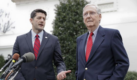 In this Feb. 27, 2017 file photo, House Speaker Paul Ryan of Wis., and Senate Majority Leader Mitch McConnell of Ky. meet with reporters outside the White House in Washington. (AP Photo/Pablo Martinez Monsivais, File)