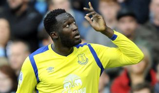 FILE - In this Saturday, Oct. 15, 2016 file photo, Everton's Romelu Lukaku celebrates after scoring during the English Premier League soccer match between Manchester City and Everton at the Etihad Stadium in Manchester, England. Romelu Lukaku has confirmed on Sunday, July 9, 2017 he will be joining Manchester United from Everton. Pre-empting an official announcement by the club, the Belgium striker said in an interview with ESPN that he chose United despite a late offer from Premier League champion and former team Chelsea. (AP Photo/Rui Vieira, File)