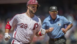 Philadelphia Phillies' Cameron Rupp (29) runs the bases after hitting a home run off a pitch from San Diego Padres starter Trevor Cahill in the second inning of a baseball game, Sunday, July 9, 2017, in Philadelphia. (AP Photo/Laurence Kesterson)