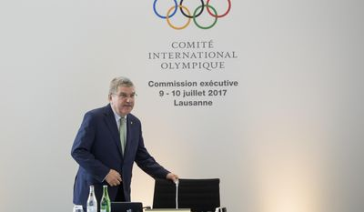 International Olympic Committee, IOC, President Thomas Bach from Germany arrives for the opening of the IOC executive board meeting in Lausanne, Switzerland, Switzerland, Sunday, July 9, 2017. (Jean-Christophe Bott/Keystone via AP)