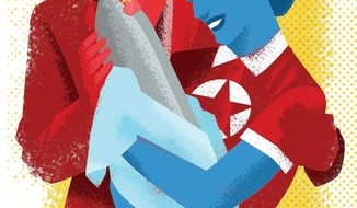 Illustration on the development of North Korean nuclear weapons by Linas Garsys/The Washington Times