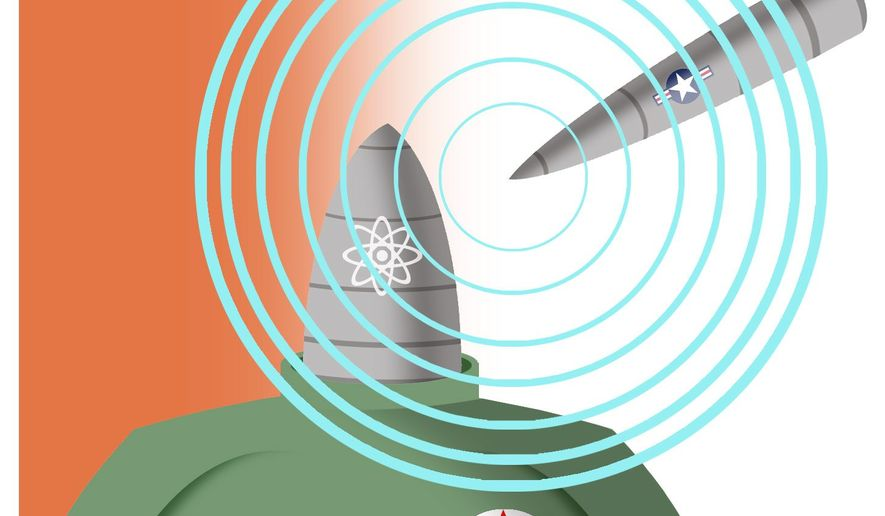 Illustration on way to neutralize the North Korean threat by Alexander Hunter/The Washington Times