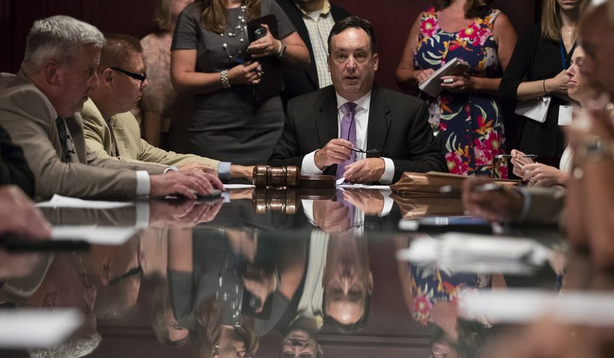 Senate Majority Leader Jake Corman, R-Centre conducts a rules comity meeting at the Pennsylvania Capitol in Harrisburg, Pa., Monday, July 10, 2017. (AP Photo/Matt Rourke)