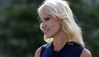 Counselor to the President Kellyanne Conway speaks with a reporter at the White House, Monday, July 10, 2017, in Washington. (AP Photo/Alex Brandon) ** FILE **