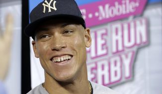 New York Yankees' Aaron Judge talks during a media availability before the All-Star Home Run Derby, Monday, July 10, 2017, in Miami. (AP Photo/Lynne Sladky)
