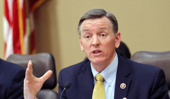 Rep. Paul Gosar, Arizona Republican, speaks during a Congressional Field Hearing on the Affordable Care Act in Apache Junction, Ariz., on Dec. 6, 2013. (Associated Press)  ** FILE **