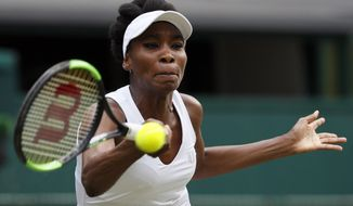 Venus Williams of the United States returns to Croatia's Ana Konjuh during their Women's Singles Match on day seven at the Wimbledon Tennis Championships in London Monday, July 10, 2017. (AP Photo/Kirsty Wigglesworth)