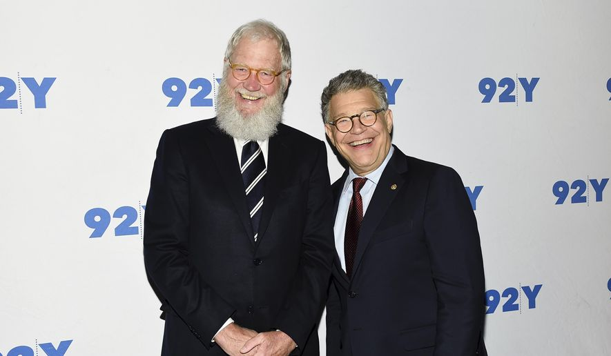 In this May 30, 2017 file photo, Sen. Al Franken, D-Minn., right, and former talk show host David Letterman arrive for their conversation at 92Y in New York. (Photo by Evan Agostini/Invision/AP, File)