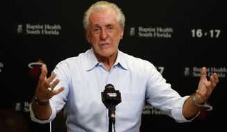 FILE - In this April 19, 2017, file photo, Miami Heat NBA basketball team president Pat Riley talks to the media during a season ending press conference, in Miami. Riley may have missed out on Gordon Hayward this summer, but kept the core of a team that showed its potential last season together. (David Santiago/El Nuevo Herald via AP, File)/